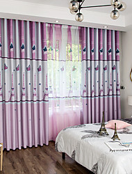 cheap -Two Panel American Country Style Children's Room Leaf Print Blackout Curtains Living Room Bedroom Curtains