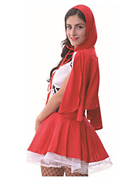 cheap -Little Red Riding Hood Dress Cosplay Costume Hat Socks / Long Stockings Adults' Women's Dresses Halloween Halloween Carnival Masquerade Festival / Holiday Polyster Red Carnival Costumes Patchwork