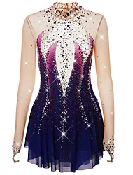 cheap -Figure Skating Dress Women's Girls' Ice Skating Dress Purple Dusty Rose Dark Purple Halo Dyeing Spandex High Elasticity Competition Skating Wear Warm Handmade Jeweled Rhinestone Long Sleeve Ice