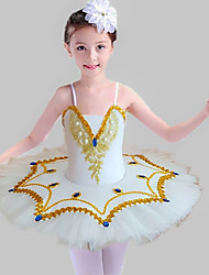 cheap -Ballet Dress Lace Sashes / Ribbons Pearls Girls' Training Performance Sleeveless Natural Mesh Sequined Milk Fiber