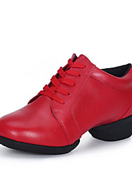 cheap -Women's Dance Shoes Faux Leather Dance Sneakers Sneaker Thick Heel Customizable Black / White / Red