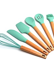 cheap -uvale Bamboo Non-Stick Silicone Kitchen Utensil Cooking Tools 7 Piece Set
