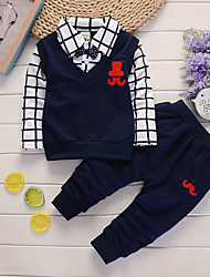 cheap -Baby Boys' Basic Blue Print Print Long Sleeve Long Long Clothing Set Navy Blue