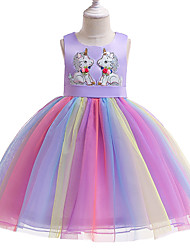 cheap -Unicorn Dress Flower Girl Dress Girls' Movie Cosplay A-Line Slip Cosplay Purple / Pink Dress Halloween Carnival Masquerade Tulle Polyester