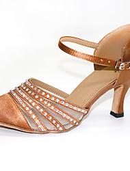 cheap -Women's Modern Shoes / Ballroom Shoes Satin Cross Strap Heel Crystals / Crystal / Rhinestone Flared Heel Customizable Dance Shoes Brown / Performance / Practice