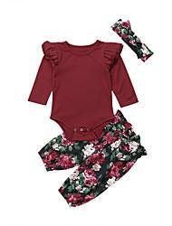 abordables -bébé Fille Actif / Basique Fleur / Couleur Pleine Manches Longues Longue Ensemble de Vêtements Rouge