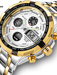cheap -Men's Steel Band Watches Quartz Formal Style Modern Style Black / Silver / Gold 30 m Water Resistant / Waterproof LCD Casual Watch Analog - Digital Classic Fashion - Black Golden+Black Golden+Silver