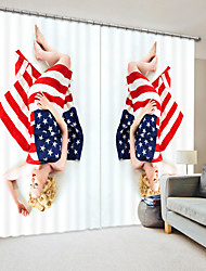 cheap -American Flag Covered Women's Digital Printing 3D Curtain Shading Curtain High Precision Black Silk Fabric High Quality Curtain