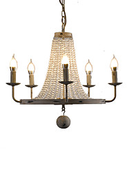 cheap -5-Light 53 cm Chandelier Metal Candle-style / Crystal / Industrial Vintage / Country 110-120V / 220-240V