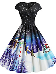 cheap -Women's Snowman Sheath Dress - Short Sleeve Snowflake Print Sweetheart Neckline Basic Christmas Party Festival Belt Not Included Black Blue Purple Red S M L XL XXL XXXL