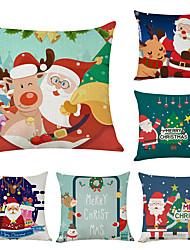 Недорогие -Наволочки рождества 6pcs хлопка / полотно, украшение рождества праздника северного оленя santa
