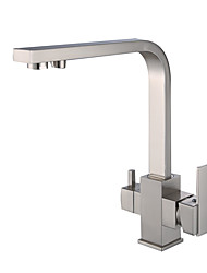 cheap -Kitchen faucet - Two Handles One Hole Electroplated / Multi-Ply Standard Spout Centerset Contemporary / Antique Kitchen Taps