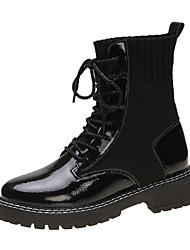 cheap -Women's Boots Chunky Heel Round Toe PU Mid-Calf Boots Casual Fall Black