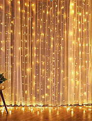 cheap -3x3m LED Icicle Curtain Fairy String Light Fairy Light 300 LEDs for Christmas Decoration Wedding Home Window Party Christmas Tree Yard Patio Outdoor