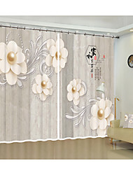 cheap -White Pearl Blossom Digital Printing on Brown Marble Style Pattern 3D Curtain Shade Curtain High Precision Black Silk Fabric High Quality First Class Living Room Curtain