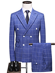 cheap -Blue Checkered Slim Fit Polyester Suit - Peak Double Breasted Four-buttons