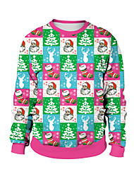 cheap -Animal Ugly Christmas Sweater / Sweatshirt Adults' Couple's Stylish Christmas Halloween Festival / Holiday Spandex Polyester Light Pink / White / Blushing Pink Couple's Easy Carnival Costumes / Top