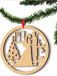 cheap -5pcs Europe and the United States sell wooden Christmas lovers computer laser hollow out widgets Wooden decorations
