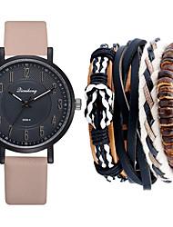 cheap -Men's Dress Watch Quartz Leather Black / Green / Khaki No Chronograph Cute New Design Analog New Arrival Minimalist - Black Green Khaki One Year Battery Life