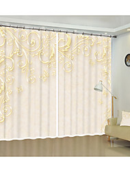 cheap -Light yellow simple flower environmental protection digital printing 3D curtain shade curtain high precision black silk fabric high quality first-class shade bedroom living room curtain