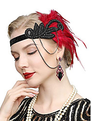 cheap -The Great Gatsby Vintage 1920s The Great Gatsby Flapper Headband Women's Feather Costume Earrings Black / Red / Blue Vintage Cosplay Festival / 1 Pair of Earrings / Headwear / 1 Pair of Earrings