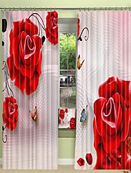 cheap -Red Rose Digital Printing 3D Curtain Shading Curtain High Precision Black Silk Cloth High Quality Curtain