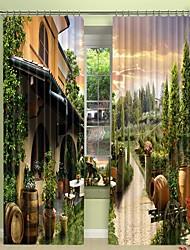 abordables -paysage de ville impression numérique 3d rideau rideau d'ombrage haute précision noir tissu de soie rideau de haute qualité