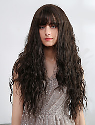 cheap -Synthetic Wig Bangs Weave Natural Wave Tight Curl Avril Neat Bang Wig Long Very Long Brown Synthetic Hair 28 inch Women's Synthetic Sexy Lady Fashion Brown EMMOR / African American Wig