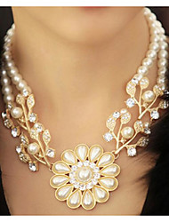 cheap -Pearl Necklace Women's Layered Pearl Imitation Pearl Floral / Botanicals Statement Cute Cute White 37+7 cm Necklace Jewelry 1pc for Wedding Engagement irregular