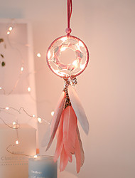 cheap -Home Decoration Dream Catcher With Lights Feathers Hand-Woven Ornaments Birthday Graduation Gift Wall Hanging Decor for Car