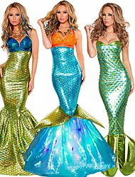 cheap -Mermaid Tail Aqua Queen Aqua Princess Cosplay Costume Party Costume Women's Movie Cosplay Golden / Teal / Purple Mermaid Fishtail Bikini Christmas Halloween Carnival Terylene
