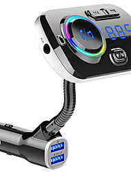 Недорогие -FM-передатчик автомобильный комплект громкой связи Bluetooth для беспроводной mp3-плеер Dual USB QC3.0 быстрое зарядное устройство громкой связи цветной свет поддержка Сири