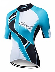 cheap -CAWANFLY Women's Short Sleeve Cycling Jersey Blue / Black Geometic Bike Jersey Top Mountain Bike MTB Road Bike Cycling Breathable Quick Dry Back Pocket Sports Clothing Apparel / Advanced / Expert