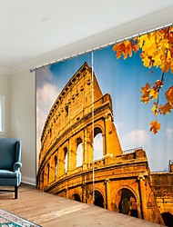 cheap -Colosseum Digital Printing 3D Curtain Shading Curtain High Precision Black Silk Fabric High Quality Curtain
