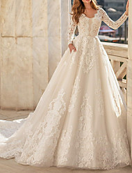 cheap -A-Line Jewel Neck Court Train Lace Long Sleeve Vintage Illusion Detail Made-To-Measure Wedding Dresses with Appliques / Buttons 2020