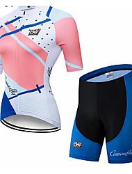 abordables -CAWANFLY Femme Manches Courtes Maillot et Cuissard Velo Cyclisme Gris+Blanc Géométrique Cyclisme Ensembles de Sport VTT Vélo tout terrain Vélo Route Respirable Séchage rapide Poche arrière Des sports