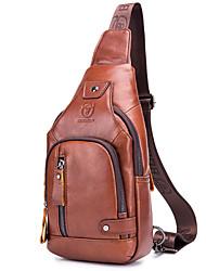 cheap -Men's Zipper Cowhide Sling Shoulder Bag Solid Color Red Brown
