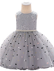 cheap -Baby Girls' Active Polka Dot / Color Block Beaded / Bow / Layered Sleeveless Knee-length Dress Light gray