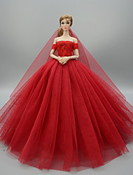 cheap -Doll accessories Doll Clothes Doll Dress Wedding Dress Party / Evening Dresses Wedding Ball Gown Sequin Lace Linen / Cotton Blend Satin / Tulle Tulle Lace Cotton Blend For 11.5 Inch Doll Handmade Toy