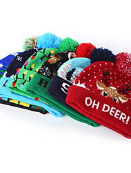 cheap -Christmas Hats With Led Light Soft Knitted Hat Santa Snowman Reindeer Christmas Hat Adult Kids Xmas Party Cap Christmas Decor