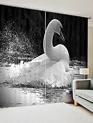 cheap -Black And White Swan Digital Printing 3D Curtain Shading Curtain High Precision Black Silk Cloth High Quality Curtain
