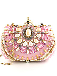Недорогие -Жен. Кристаллы / Цепочки Шелк Вечерняя сумочка Вышивка Розовый