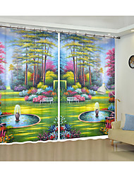 cheap -Park Scenery Digital Printing 3D Curtain Shading Creative Curtain High Precision Black Silk Fabric High Quality First-class Shading Bedroom Living Room Curtain
