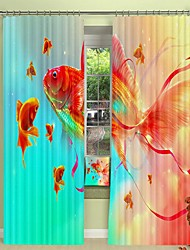 cheap -Red Goldfish Digital Printing 3D Curtain Shading Curtain High Precision Black Silk Fabric High Quality Curtain