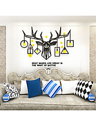 cheap -Christmas Elk head lamps Acrylic wall stickers Crystal effect wall decals Festival TV background & Livingroom decors