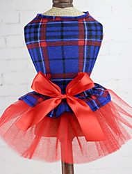 cheap -Dogs Cats Pets Dress Dog Clothes Green Red Blue Costume Polyster Voiles & Sheers Plaid / Check Bowknot Wedding XS S M L XL