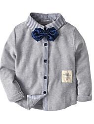 cheap -Kids Toddler Boys' Basic Color Block Patchwork Long Sleeve Shirt Light gray