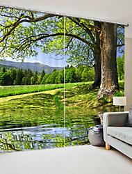 abordables -arbre impression numérique 3d rideau ombrage rideau dans le parc de la forêt haute précision tissu de soie noire de haute qualité