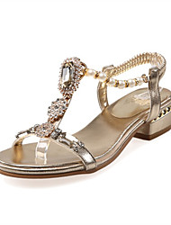 cheap -Women's Sandals Chunky Heel Open Toe Synthetics Spring & Summer Gold / Silver / Wedding / Party & Evening