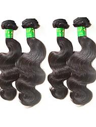 """Недорогие -4 Связки Индийские волосы Естественные кудри Не подвергавшиеся окрашиванию Необработанные натуральные волосы Человека ткет Волосы 10""""~28"""" Нейтральный Ткет человеческих волос"""